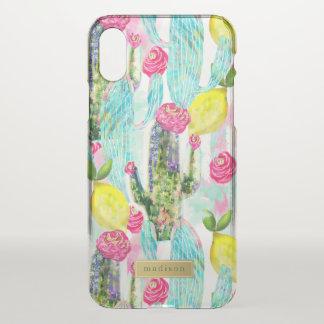 Femenino del modelo del cactus y del limón funda para iPhone x
