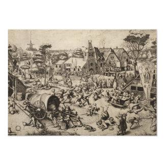 Feria del día de Jorte del santo de Pieter Bruegel Invitación 12,7 X 17,8 Cm
