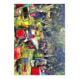 Feria en el jardín invitación 12,7 x 17,8 cm