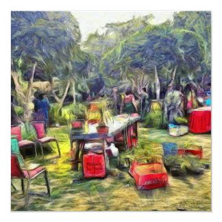 Feria en el jardín invitación 13,3 cm x 13,3cm