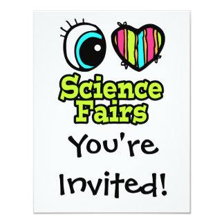 Ferias de ciencia brillantes del amor del corazón invitación 10,8 x 13,9 cm