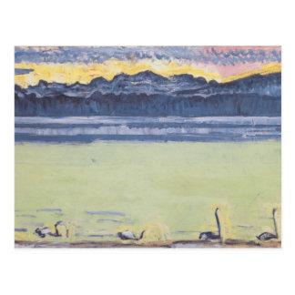 Fernando Hodler- el lago Lemán con Mont Blanc Postal