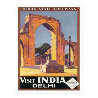 Ferrocarriles de Delhi la India del vintage Postales