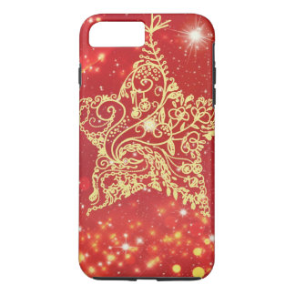 Festival rojo de la estrella del brillo funda iPhone 7 plus
