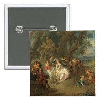 Fête Champêtre, C. 1730 (aceite en lona) Chapa Cuadrada 5 Cm