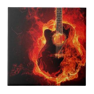 Feu del en de Guitare Azulejo Cuadrado Pequeño