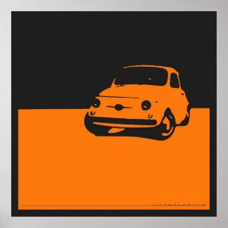 Fiat 500, 1959 - naranja en el poster negro póster