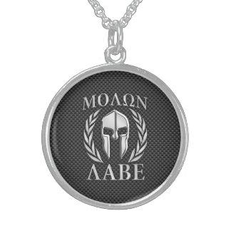 Fibra de carbono espartano de la armadura del collar de plata de ley