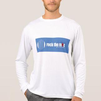 Fibra micro de la manga larga con el logotipo azul camiseta
