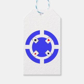 Ficha de póker - azul etiquetas para regalos