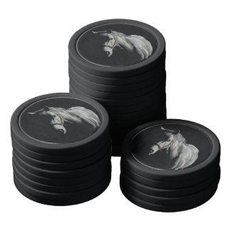 Ficha de póker de plata del semental fichas de póquer