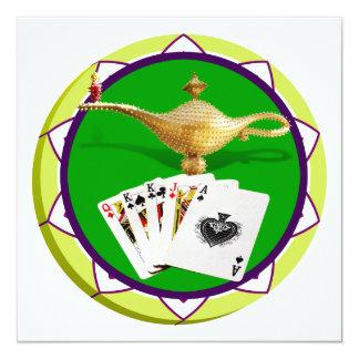 Ficha de póker mágica de la lámpara de Las Vegas Invitación 13,3 Cm X 13,3cm