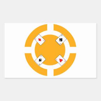 Ficha de póker - naranja pegatina rectangular