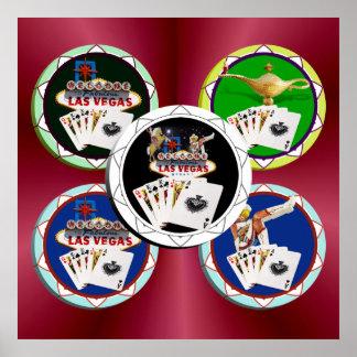 Ficha de póker negra del signo positivo póster