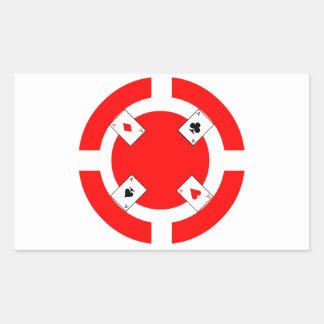 Ficha de póker - rojo pegatina rectangular