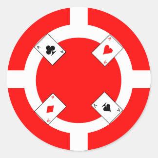 Ficha de póker - rojo pegatina redonda