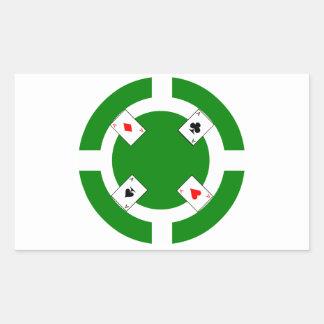 Ficha de póker - verde pegatina rectangular