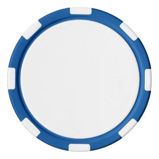 Fichas de póker con el borde rayado azul