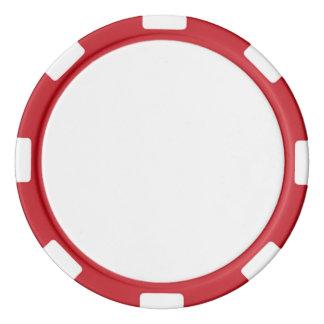 Fichas de póker con el borde rayado rojo