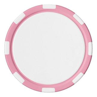 Fichas de póker con el borde rayado rosado