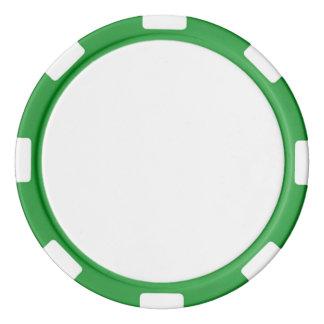 Fichas de póker con el borde rayado verde