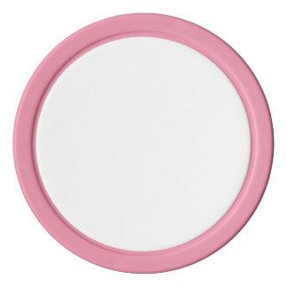 Fichas de póker con el borde sólido rosado