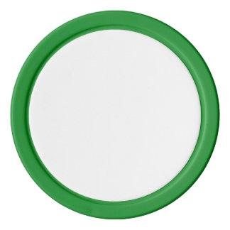 Fichas de póker con el borde sólido verde
