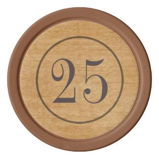 Fichas de póker de madera del vintage juego de fichas de póquer