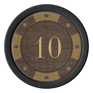 Fichas de póker de madera rústicas del estilo del