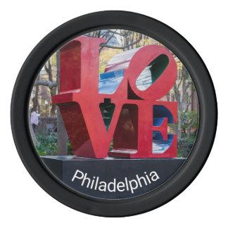 Fichas de póker del AMOR de Philadelphia