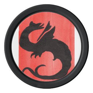 Fichas de póker del dragón que se encrespan