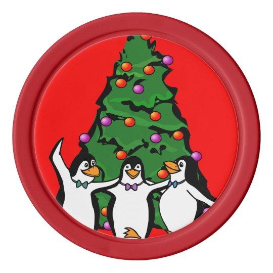 Fichas de póker felices de los pingüinos de las