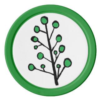 Fichas de póker verdes del árbol del punto