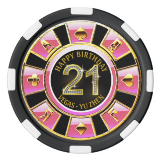 Fichas De Póquer 21ro oro negro rosado del casino el | del