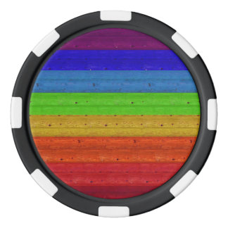 Fichas De Póquer Arco iris en la madera