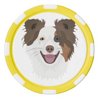 Fichas De Póquer Border collie feliz de la cara de los perros del