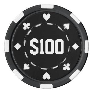 Fichas De Póquer Casino, $100, fichas de póker, negro/blanco