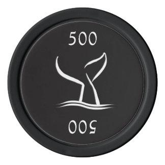 Fichas De Póquer Cola de la ballena blanca en negro