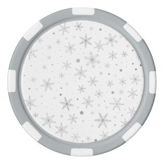 Fichas De Póquer Copo de nieve del centelleo - gris y Blanco de