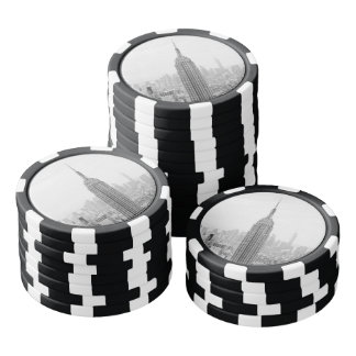 Fichas De Póquer Empire State Building blanco y negro Manhattan