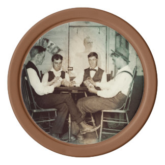 Fichas De Póquer Hombres 1890 del juego de póker que juegan la foto