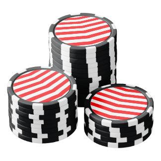 Fichas De Póquer Navidad rojo y rayas blancas de Chevron