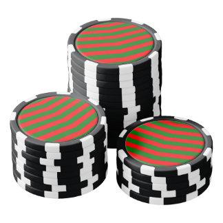 Fichas De Póquer Navidad rojo y rayas verdes del zigzag de Chevron