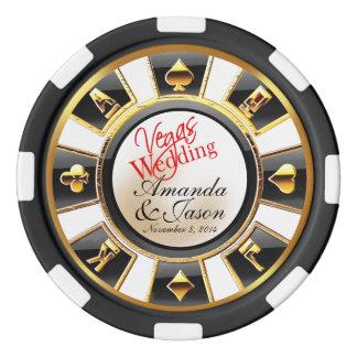 Fichas De Póquer Oro negro blanco del casino del boda de Vegas