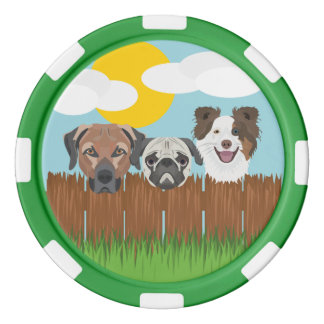 Fichas De Póquer Perros afortunados del ilustracion en una cerca de