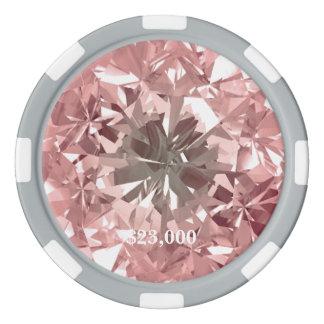 Fichas De Póquer Piedra de gema rosada del diamante del filtro de