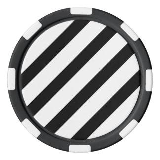 Fichas De Póquer Raya básica 1 blanco y negro