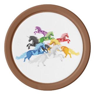 Fichas De Póquer Unicornios salvajes coloridos del ejemplo