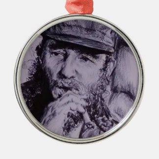 Fidel Castro Adorno Navideño Redondo De Metal
