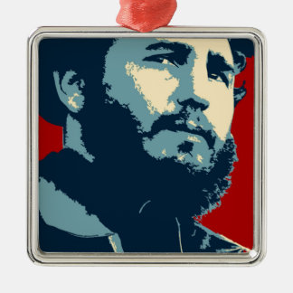 Fidel Castro - presidente cubano de la revolución Adorno Navideño Cuadrado De Metal